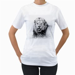 Lion Wildlife Art And Illustration Pencil Women s T Shirt (white) (two Sided)