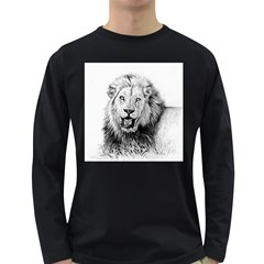 Lion Wildlife Art And Illustration Pencil Long Sleeve Dark T Shirts