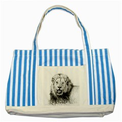 Lion Wildlife Art And Illustration Pencil Striped Blue Tote Bag