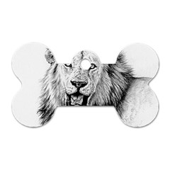 Lion Wildlife Art And Illustration Pencil Dog Tag Bone (one Side)