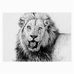 Lion Wildlife Art And Illustration Pencil Large Glasses Cloth (2 Side)