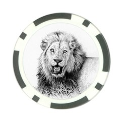 Lion Wildlife Art And Illustration Pencil Poker Chip Card Guard (10 Pack)