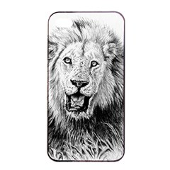 Lion Wildlife Art And Illustration Pencil Apple Iphone 4/4s Seamless Case (black)