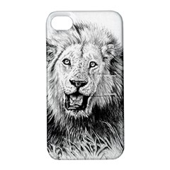 Lion Wildlife Art And Illustration Pencil Apple Iphone 4/4s Hardshell Case With Stand