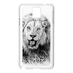 Lion Wildlife Art And Illustration Pencil Samsung Galaxy Note 3 N9005 Case (white)
