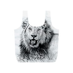 Lion Wildlife Art And Illustration Pencil Full Print Recycle Bags (s)