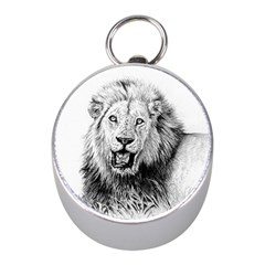 Lion Wildlife Art And Illustration Pencil Mini Silver Compasses