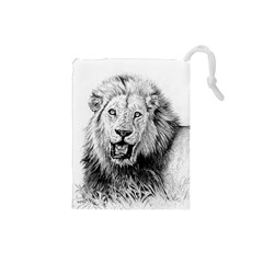 Lion Wildlife Art And Illustration Pencil Drawstring Pouches (small)
