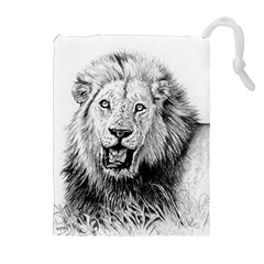 Lion Wildlife Art And Illustration Pencil Drawstring Pouches (extra Large)