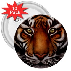 The Tiger Face 3  Buttons (10 Pack)