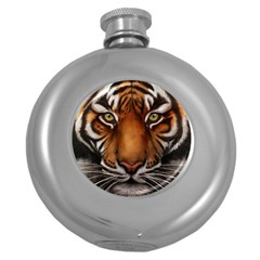 The Tiger Face Round Hip Flask (5 Oz)