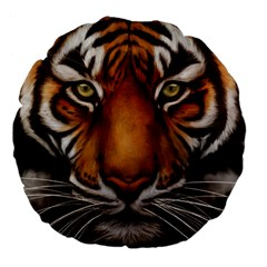 The Tiger Face Large 18  Premium Flano Round Cushions