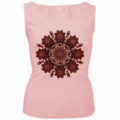 Mandala Pattern Round Brown Floral Women s Pink Tank Top