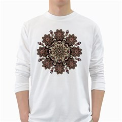 Mandala Pattern Round Brown Floral White Long Sleeve T Shirts
