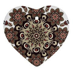 Mandala Pattern Round Brown Floral Heart Ornament (two Sides)