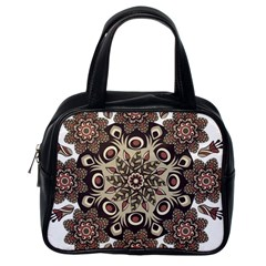 Mandala Pattern Round Brown Floral Classic Handbags (one Side)
