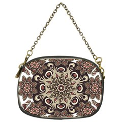 Mandala Pattern Round Brown Floral Chain Purses (one Side)