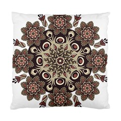 Mandala Pattern Round Brown Floral Standard Cushion Case (one Side)