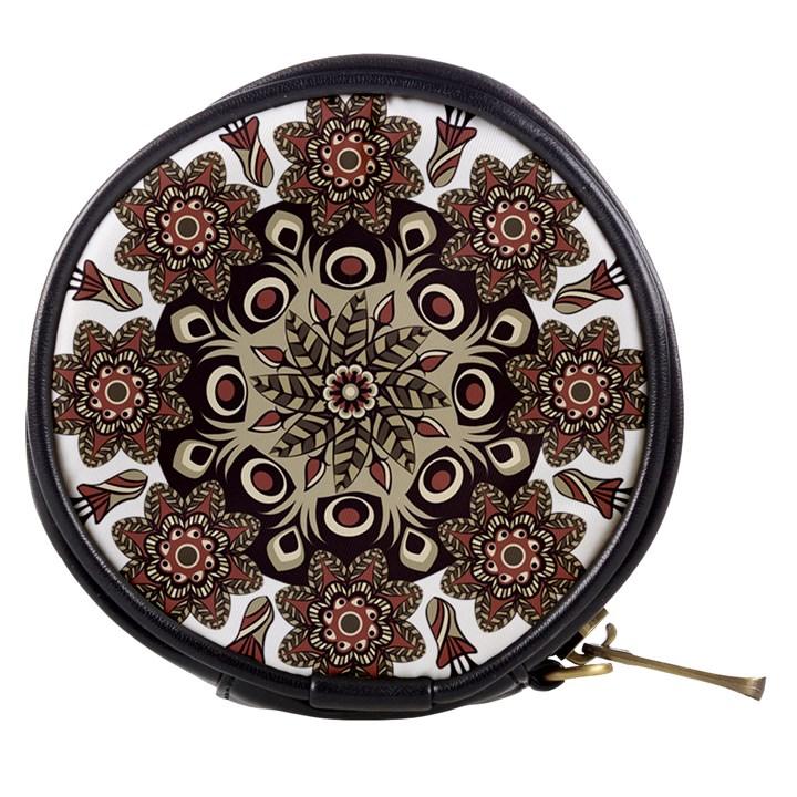 Mandala Pattern Round Brown Floral Mini Makeup Bags