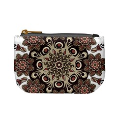Mandala Pattern Round Brown Floral Mini Coin Purses