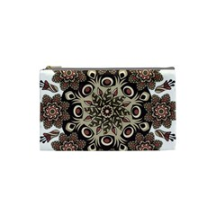 Mandala Pattern Round Brown Floral Cosmetic Bag (small)