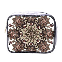 Mandala Pattern Round Brown Floral Mini Toiletries Bags