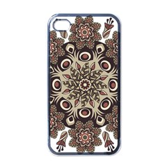 Mandala Pattern Round Brown Floral Apple Iphone 4 Case (black)