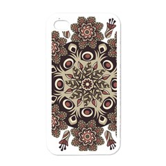 Mandala Pattern Round Brown Floral Apple Iphone 4 Case (white)