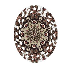 Mandala Pattern Round Brown Floral Oval Filigree Ornament (two Sides)