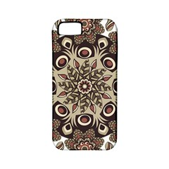 Mandala Pattern Round Brown Floral Apple Iphone 5 Classic Hardshell Case (pc+silicone)