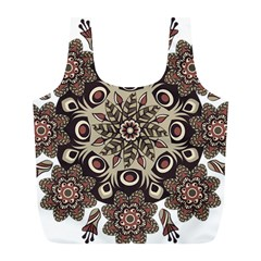 Mandala Pattern Round Brown Floral Full Print Recycle Bags (l)