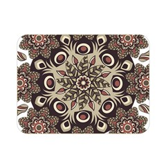 Mandala Pattern Round Brown Floral Double Sided Flano Blanket (mini)