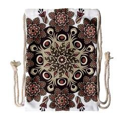 Mandala Pattern Round Brown Floral Drawstring Bag (large)