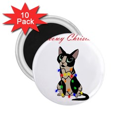 Meowy Christmas 2 25  Magnets (10 Pack)