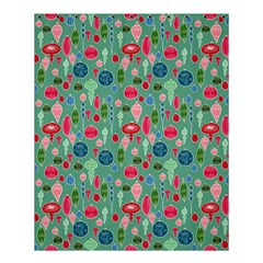 Vintage Christmas Hand Painted Ornaments In Multi Colors On Teal Shower Curtain 60  X 72  (medium)