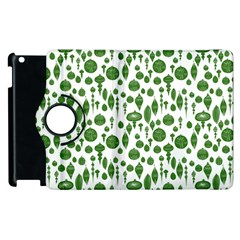 Vintage Christmas Ornaments In Green On White Apple Ipad 3/4 Flip 360 Case