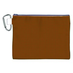 Classic Christmas Red And Green Houndstooth Check Pattern Canvas Cosmetic Bag (xxl)