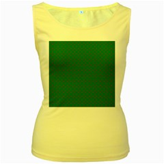 Mini Red Dots On Christmas Green Women s Yellow Tank Top