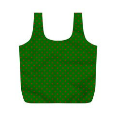 Mini Red Dots On Christmas Green Full Print Recycle Bags (m)