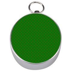 Mini Red Dots On Christmas Green Silver Compasses