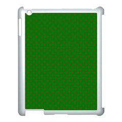 Mini Red Dots On Christmas Green Apple Ipad 3/4 Case (white)