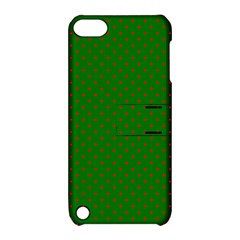 Mini Red Dots On Christmas Green Apple Ipod Touch 5 Hardshell Case With Stand