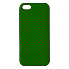 Mini Red Dots On Christmas Green Apple Iphone 5 Premium Hardshell Case