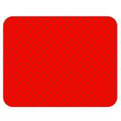 Small Christmas Green Polka Dots On Red Double Sided Flano Blanket (medium)