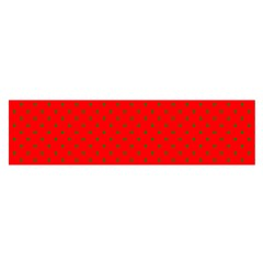 Small Christmas Green Polka Dots On Red Satin Scarf (oblong)