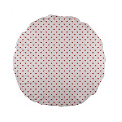 Small Christmas Red Polka Dot Hearts On Snow White Standard 15  Premium Flano Round Cushions