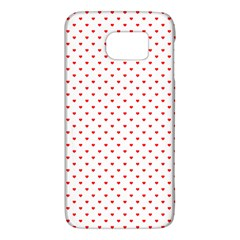 Small Christmas Red Polka Dot Hearts On Snow White Galaxy S6