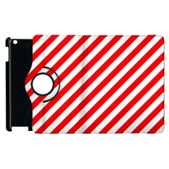 Christmas Red And White Candy Cane Stripes Apple Ipad 3/4 Flip 360 Case