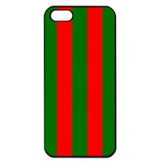 Wide Red And Green Christmas Cabana Stripes Apple Iphone 5 Seamless Case (black)