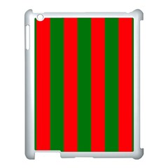 Wide Red And Green Christmas Cabana Stripes Apple Ipad 3/4 Case (white)